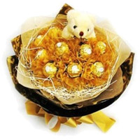 16 Pcs Ferrero Rocher 6 Inch Teddy Bouquet