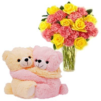24 Pink Carnation Yellow Rose Vase With Hugging Teddy Bear