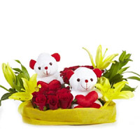 2 Yellow Lily 12 Red Roses 2 Small Teddy Basket