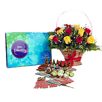 1 Celebration Pack and 18 Red Yellow Mix Flowers Basket with Assorted Crackers