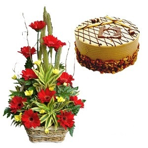 Basket Of Red Gerberas With Yellow Daisies With Half Kg Butterscotch Cake