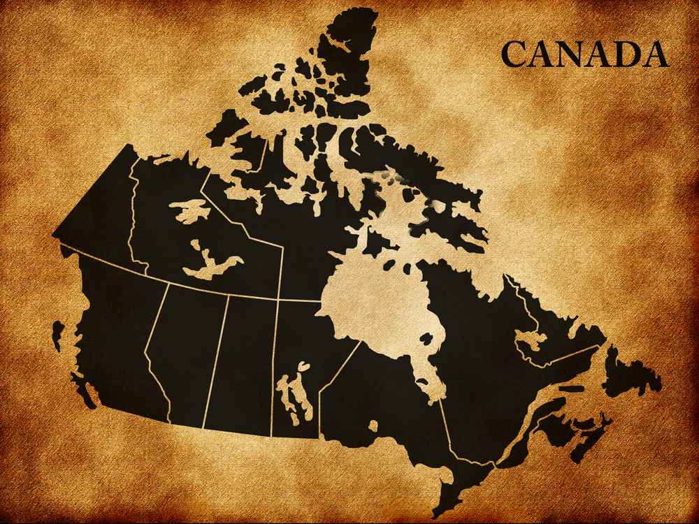 Gray Map of Canada With Provinces
