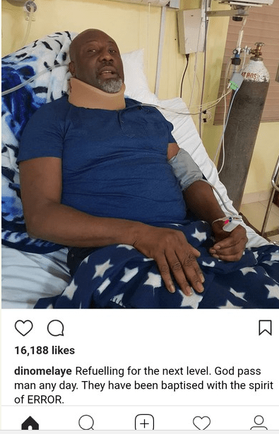 Dino Melaye poses for the Camera on the hospital bed(photos)
