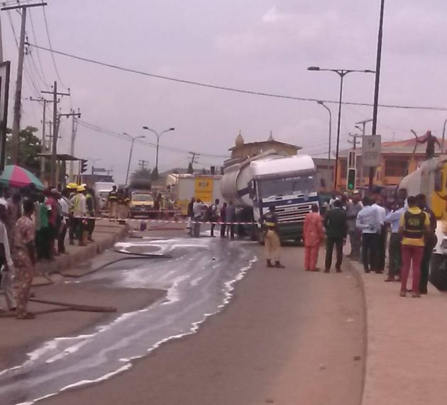 Breaking: Another fire disaster averted in Lagos as petrol tanker spills content (photos)