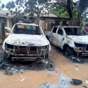 Thugs beat up Policemen, set Police Station ablaze (Photos)