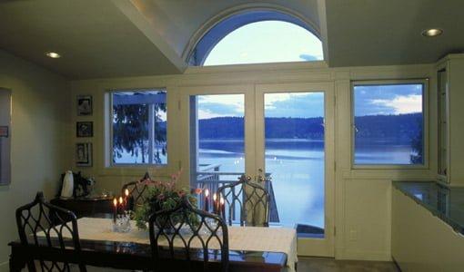 Glass door looking out over water