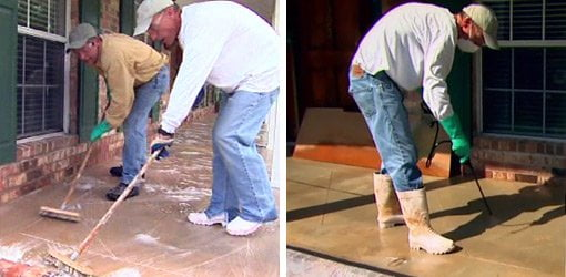 Cleaning concrete porch (left), applying acid stain to concrete (right).