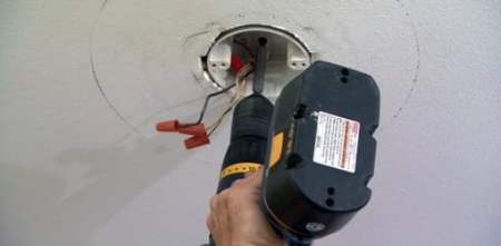 Replacing Light Fixture with Paddle Ceiling Fan   Today s Homeowner Attaching a ceiling electrical box to a wood support