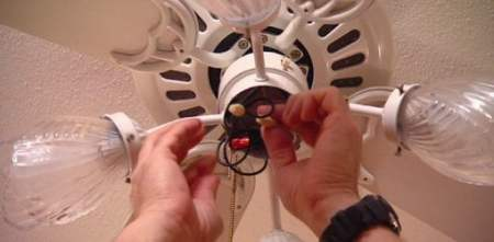 How to Fix a Paddle Ceiling Fan Light Switch   Today s Homeowner Disconnecting the wires to a ceiling fan light switch