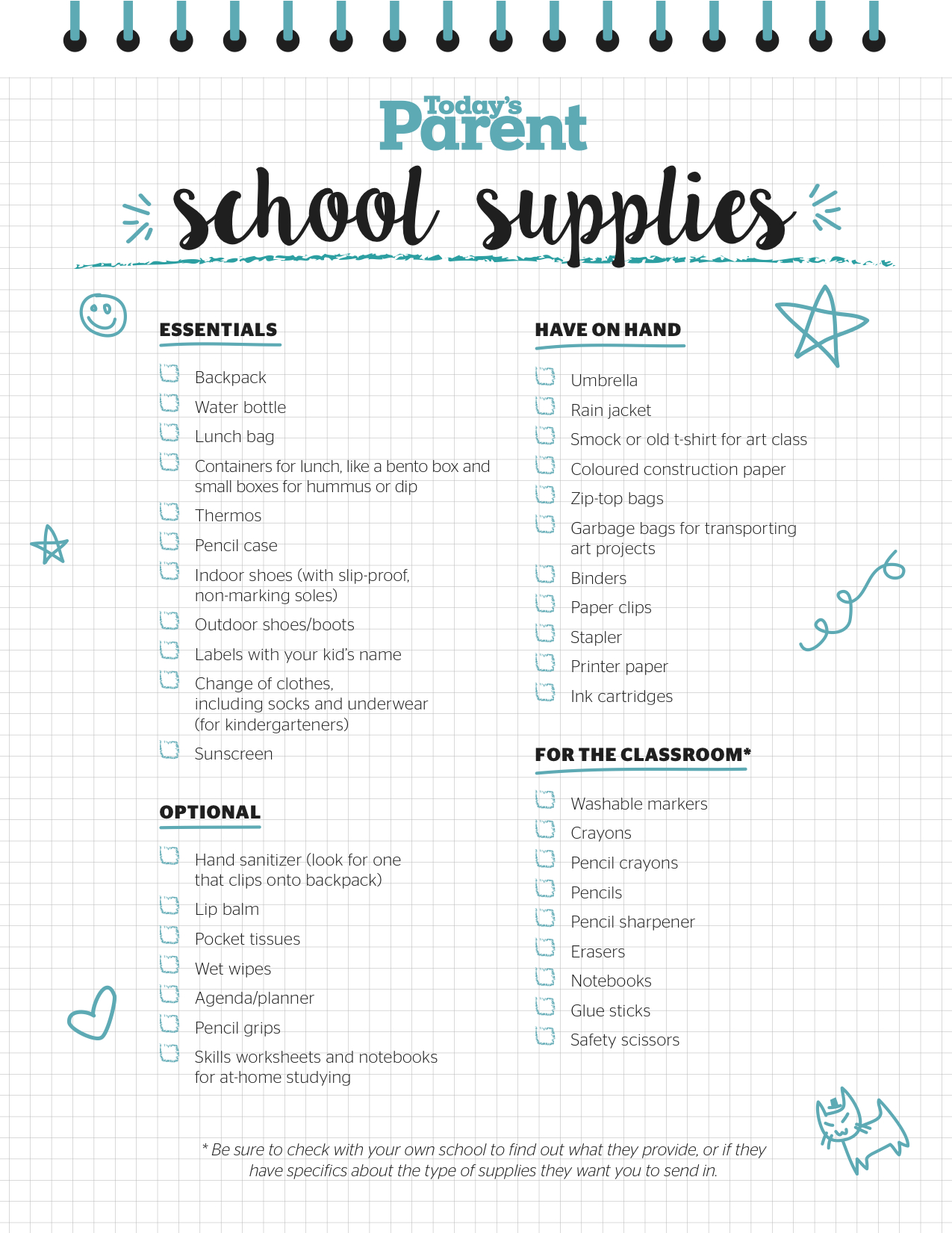 Printable School Supplies Checklist