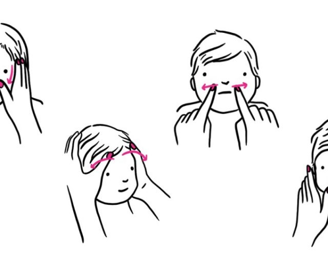 Illustrated Steps Showing A Baby Getting A Face Massage