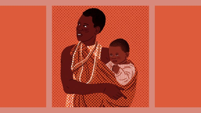 Illustration of a mother in Africa carrying her baby with a cloth wrap