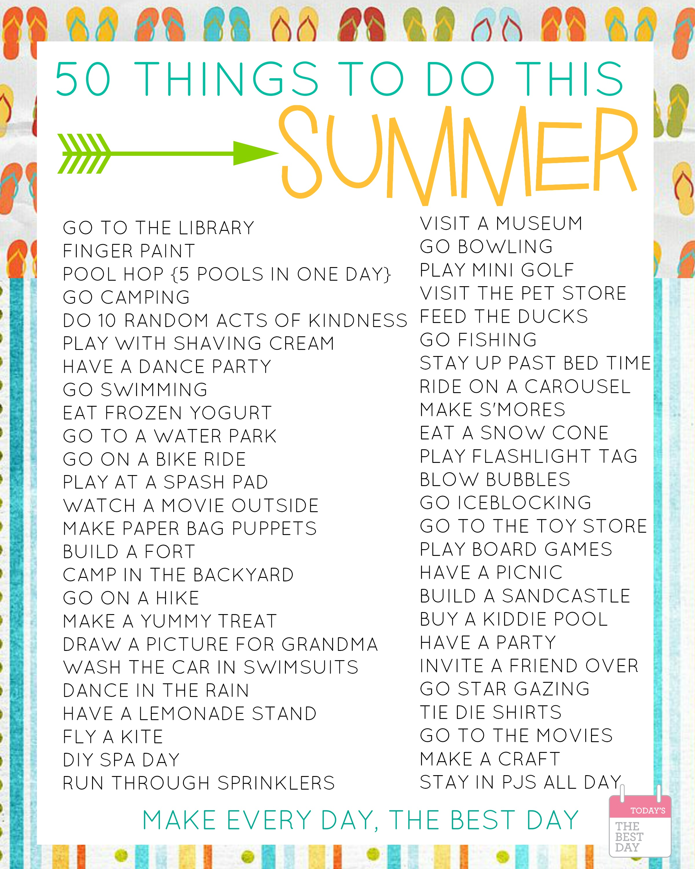 50 Things To Do This Summer With Free Printable Bucket Lists