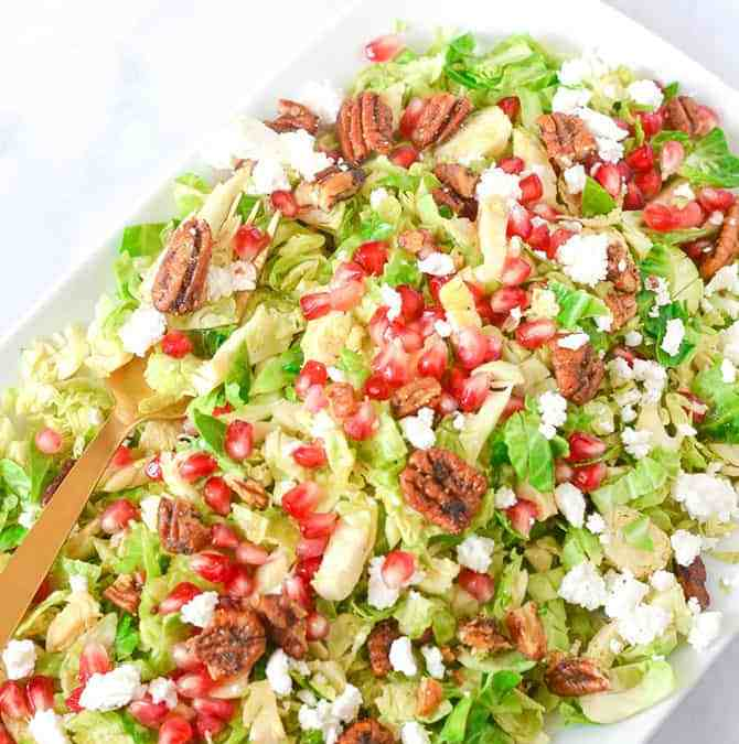 Brussels Sprout Salad With Pomegranates and Candied Pecans