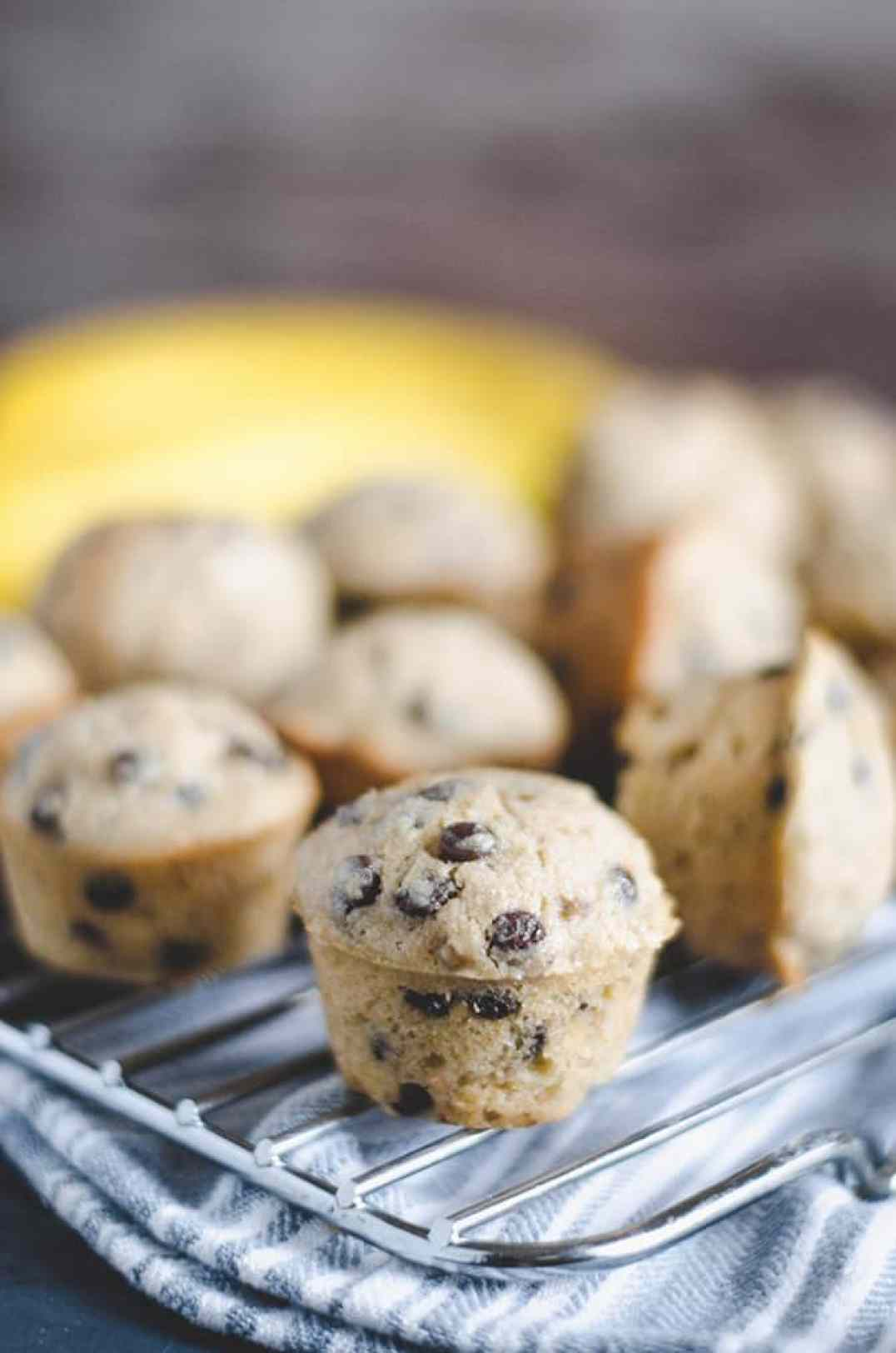 Perfect for Breakfast on the Bus: Wheat Banana Chocolate Chip Mini Muffins