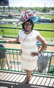 Danielle Kennedy-Jones, from Atlanta, worked a multicolor hatinator and dress.