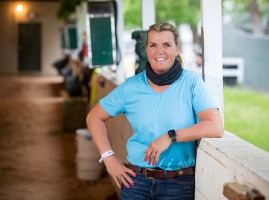 """Hidden Stash trainer Vicki Oliver at barn 5 A on the backside. """"I'm glad I made it to the Derby this year. If I'm going to win, I want it to be the first weekend in May — not September.""""2"""