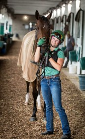 """""""I did the Junior Olympics twice so I like to think not much rattles my cage,"""" says exercise rider Alisa Morrison."""