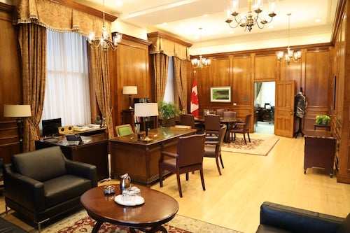 Premier's office in the Legislature, photo taken prior to exterior renovations, Jan. 2020.
