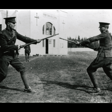 Men of the 12 Canadian Mounted Rifles training at the Red Deer Exhibition grounds, 1915