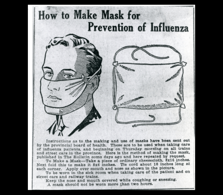 Flu Mask instructions from the Spanish Flu Epidemic, October/November 1918 Photo A131187