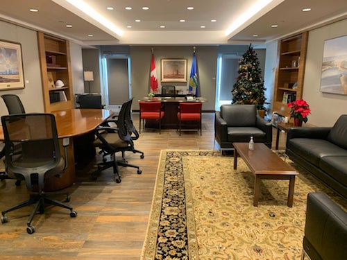 The Federal building workspace with furniture moved in, Jan 2021.