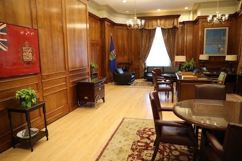 Premier's office in the Legislature, photo taken prior to exterior renovations, Jan. 2020.