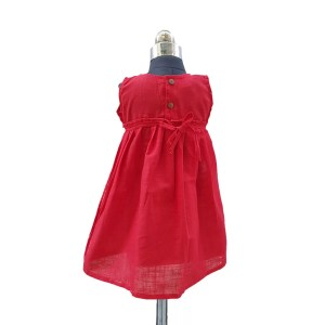 Cotton plain red frock back