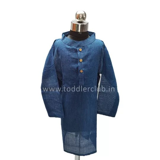 Kids Blue Stripes Handloom Kurta