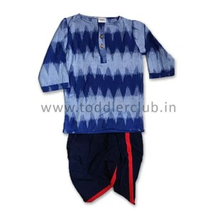 Boys Blue Ikat Short Kurta