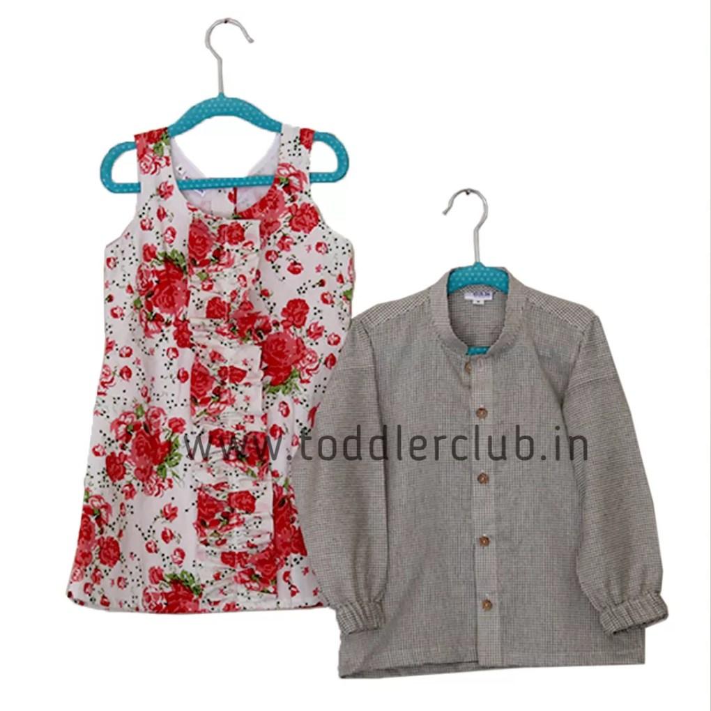 white floral frock black smallchecks shirt