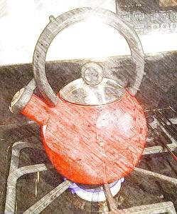 Shiny red whistling kettle
