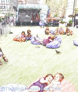 T & B enjoying the giant bean bags at See/Change