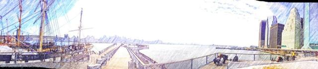 Panoramic view from Pier 15 over the East River