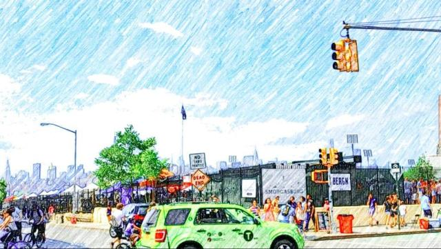 Smorgusburg at Williamsburg (Brooklyn taxis are green. Who knew?)