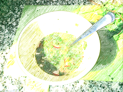 T & B's soup of the day - raw ingredients, basically inedible