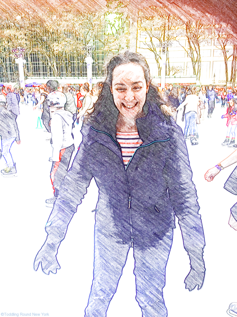 Failing to look graceful on the ice - A skating - Bryant Park Winter Village