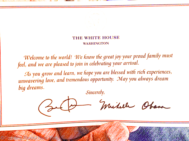 J's Presidential greeting - signed by the Obamas in the nick of time