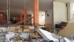Inside damage to Farmer's Market building in Bahia