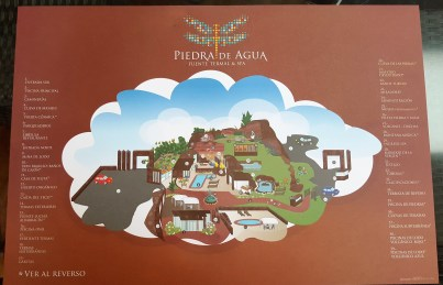 Paper Placemat with cartoon of Piedra de Aqua layout