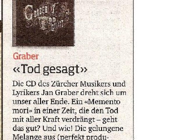 Plattenbesprechung im Blick, Rubrik Kultur, vom 9. Januar 2009. Von Gabriel Brönnimann.