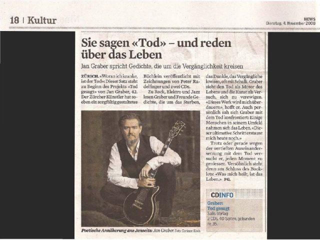 «Sie sagen 'Tod' - und reden über das Leben». CD-Besprechung im News, Rubrik Kultur, am 4. November 2008.