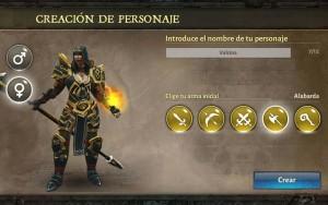 Dungeon Hunter V selección arma alabarda Mujer