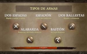 Dungeon Hunter V tipos de armas