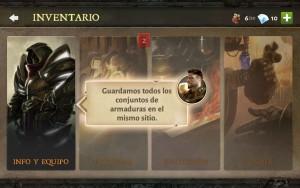 Dungeon Hunter V tutorial personalizar equipo selección