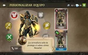 Dungeon Hunter V tutorial personalizar equipo escoge armadura