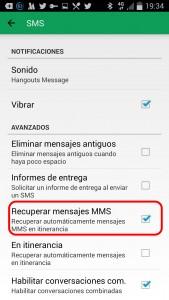 Hangouts Deshabilitar recepción automatica MMS