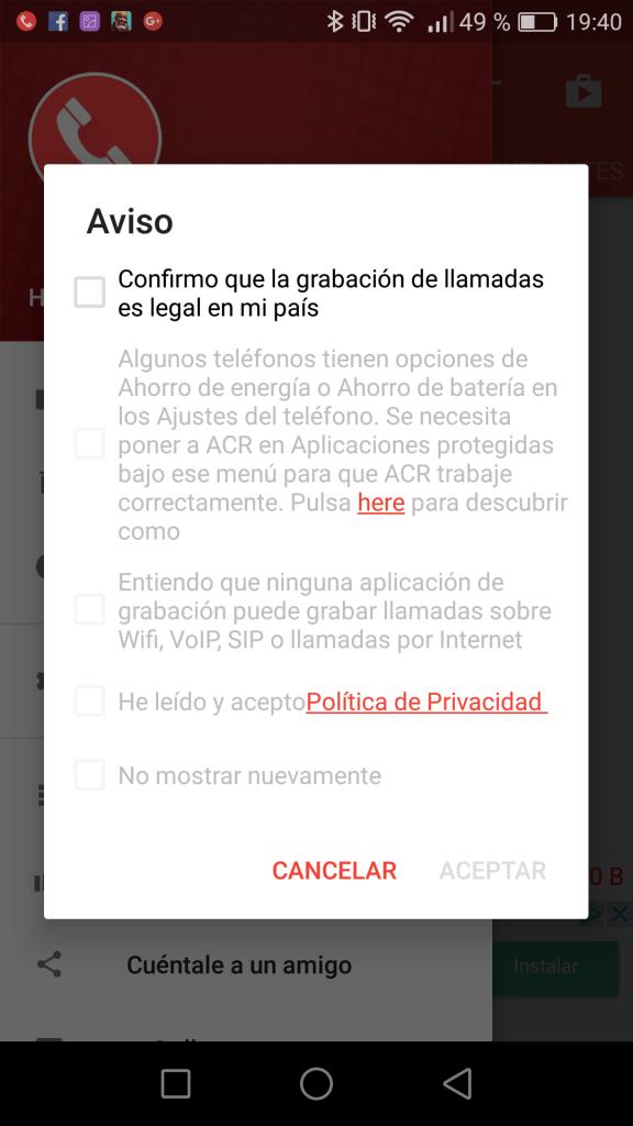 ACR Grabación de llamadas Condiciones