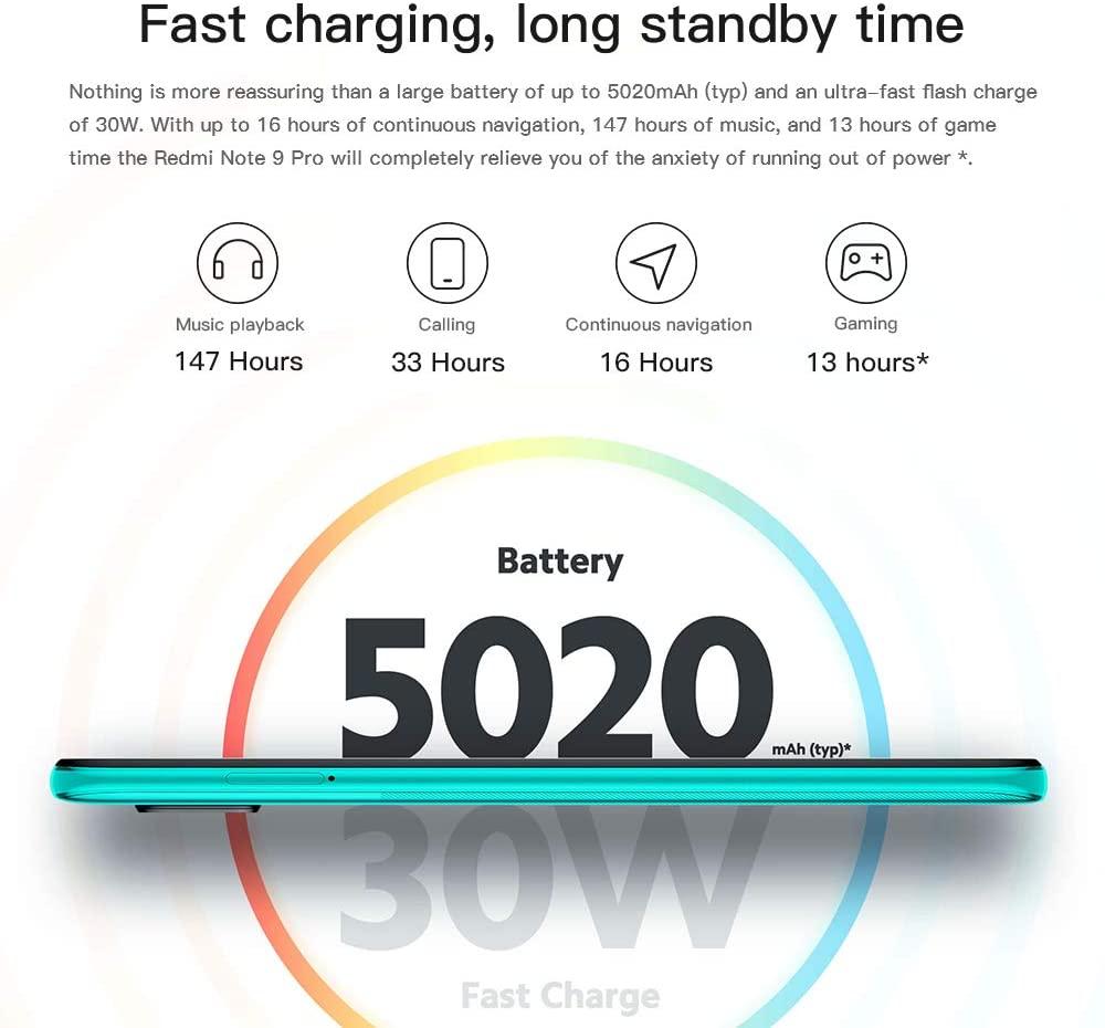 Xiaomi Redmi Note 9 Pro batería con carga rápida