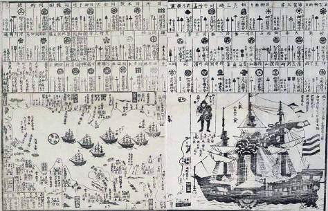 """Ilustración japonesa de 1854 donde figura la escuadra de """"barcos negros"""" del comodoro Perry"""